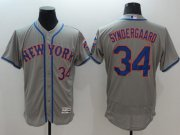 Wholesale Mets #34 Noah Syndergaard Grey Flexbase Authentic Collection Stitched Baseball Jersey
