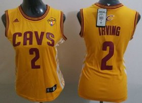 Wholesale Cheap Women\'s Cleveland Cavaliers #2 Kyrie Irving Yellow 2016 The NBA Finals Patch Jersey