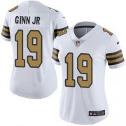 Wholesale Cheap Nike Saints #19 Ted Ginn Jr White Women's Stitched NFL Limited Rush Jersey