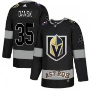 Wholesale Cheap Adidas Golden Knights X Astros #35 Oscar Dansk Black Authentic City Joint Name Stitched NHL Jersey