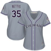 Wholesale Cheap Rockies #35 Chad Bettis Grey Road Women's Stitched MLB Jersey