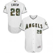 Wholesale Cheap Angels of Anaheim #29 Rod Carew White Flexbase Authentic Collection Memorial Day Stitched MLB Jersey