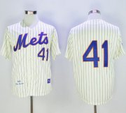 Wholesale Cheap Mitchell And Ness 1969 Mets #41 Tom Seaver Cream(Blue Strip) Throwback Stitched MLB Jersey