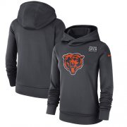Wholesale Cheap NFL Women's Chicago Bears Nike Anthracite Crucial Catch Performance Pullover Hoodie
