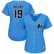 Wholesale Cheap Marlins #19 Miguel Rojas Blue Alternate Women's Stitched MLB Jersey