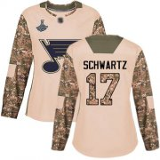 Wholesale Cheap Adidas Blues #17 Jaden Schwartz Camo Authentic 2017 Veterans Day Stanley Cup Champions Women's Stitched NHL Jersey