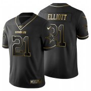 Wholesale Cheap Dallas Cowboys #21 Ezekiel Elliott Men's Nike Black Golden Limited NFL 100 Jersey