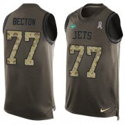Wholesale Cheap Nike Jets #77 Mekhi Becton Green Men's Stitched NFL Limited Salute To Service Tank Top Jersey