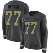 Wholesale Cheap Nike Jets #77 Mekhi Becton Anthracite Salute to Service Women's Stitched NFL Limited Therma Long Sleeve Jersey