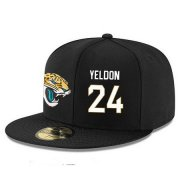 Wholesale Cheap Jacksonville Jaguars #24 T.J. Yeldon Snapback Cap NFL Player Black with White Number Stitched Hat
