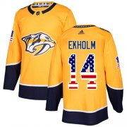 Wholesale Cheap Adidas Predators #14 Mattias Ekholm Yellow Home Authentic USA Flag Stitched NHL Jersey