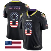 Wholesale Cheap Nike Ravens #8 Lamar Jackson Black Men's Stitched NFL Limited Rush USA Flag Jersey