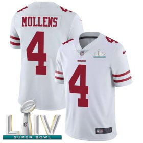 Wholesale Cheap Nike 49ers #4 Nick Mullens White Super Bowl LIV 2020 Youth Stitched NFL Vapor Untouchable Limited Jersey