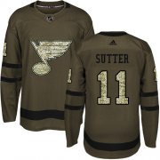 Wholesale Cheap Adidas Blues #11 Brian Sutter Green Salute to Service Stitched NHL Jersey