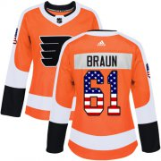 Wholesale Cheap Adidas Flyers #61 Justin Braun Orange Home Authentic USA Flag Women's Stitched NHL Jersey