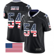 Wholesale Cheap Nike Cowboys #54 Jaylon Smith Black Men's Stitched NFL Limited Rush USA Flag Jersey