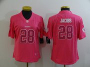 Wholesale Cheap Women's Las Vegas Raiders #28 Josh Jacobs Pink Fashion 2017 Rush NFL Nike Limited Jersey