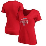 Wholesale Cheap Washington Nationals Majestic Women's 2019 World Series Bound Authentic Collection V-Neck T-Shirt Red