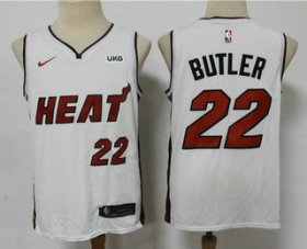 Wholesale Cheap Men\'s Miami Heat #22 Jimmy Butler White 2021 Nike Swingman Stitched NBA Jersey With The NEW Sponsor Logo