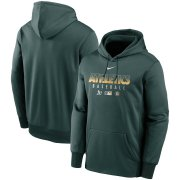 Wholesale Cheap Men's Oakland Athletics Nike Green Authentic Collection Therma Performance Pullover Hoodie
