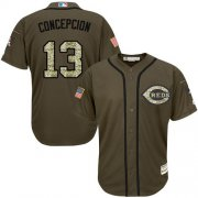 Wholesale Cheap Reds #13 Concepcion Green Salute to Service Stitched Youth MLB Jersey