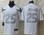 Wholesale Cheap Nike Seahawks #25 Richard Sherman White Men's Stitched NFL Limited Platinum Jersey