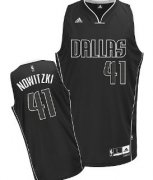 Wholesale Cheap Dallas Mavericks #41 Dirk Nowitzki All Black With White Swingman Jersey