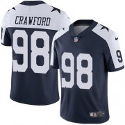 Wholesale Cheap Nike Cowboys #98 Tyrone Crawford Navy Blue Thanksgiving Men's Stitched NFL Vapor Untouchable Limited Throwback Jersey