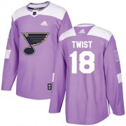 Wholesale Cheap Adidas Blues #18 Tony Twist Purple Authentic Fights Cancer Stitched NHL Jersey