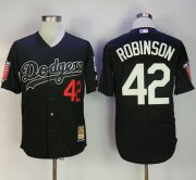 Wholesale Cheap Mitchell And Ness Dodgers #42 Jackie Robinson Black Throwback Stitched MLB Jersey