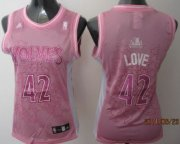 Wholesale Cheap Minnesota Timberwolves #42 Kevin Love Pink Womens Jersey