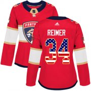 Wholesale Cheap Adidas Panthers #34 James Reimer Red Home Authentic USA Flag Women's Stitched NHL Jersey