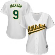 Wholesale Cheap Athletics #9 Reggie Jackson White Home Women's Stitched MLB Jersey
