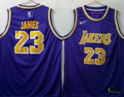 Wholesale Cheap Men's Los Angeles Lakers 23 Lebron James Purple Nike Swingman Jersey