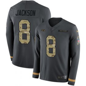 Wholesale Cheap Nike Ravens #8 Lamar Jackson Anthracite Salute to Service Men\'s Stitched NFL Limited Therma Long Sleeve Jersey