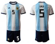 Wholesale Cheap Argentina #5 Gago Home Soccer Country Jersey