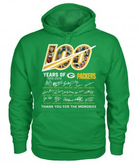 Wholesale Cheap Green Bay Packers 100 Seasons Memories Pullover Hoodie Light Green