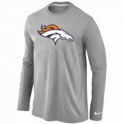 Wholesale Cheap Nike Denver Broncos Logo Long Sleeve T-Shirt Grey