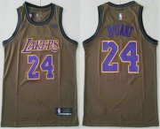 Wholesale Cheap Men's Los Angeles Lakers #24 Kobe Bryant Olive Stitched Nike Swingman Jersey With The Sponsor Logo