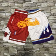 Wholesale Cheap Men's Chicago Bulls and Utah Jazz Red With White 1997 The Finals Patch Split Hardwood Classics Soul Swingman Throwback Shorts
