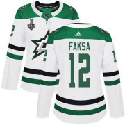 Cheap Adidas Stars #12 Radek Faksa White Road Authentic Women's 2020 Stanley Cup Final Stitched NHL Jersey