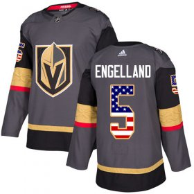 Wholesale Cheap Adidas Golden Knights #5 Deryk Engelland Grey Home Authentic USA Flag Stitched NHL Jersey