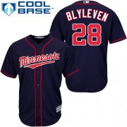 Wholesale Cheap Twins #28 Bert Blyleven Navy blue Cool Base Stitched Youth MLB Jersey