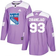 Wholesale Cheap Adidas Rangers #93 Mika Zibanejad Purple Authentic Fights Cancer Stitched Youth NHL Jersey