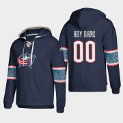Wholesale Cheap Columbus Blue Jackets Personalized Lace-Up Pullover Hoodie Blue