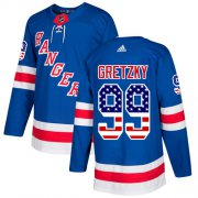 Wholesale Cheap Adidas Rangers #99 Wayne Gretzky Royal Blue Home Authentic USA Flag Stitched Youth NHL Jersey