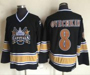 Wholesale Cheap Capitals #8 Alex Ovechkin Black CCM Throwback Stitched NHL Jersey