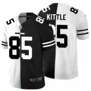 Cheap San Francisco 49ers #85 George Kittle Men's Black V White Peace Split Nike Vapor Untouchable Limited NFL Jersey