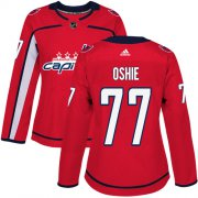 Wholesale Cheap Adidas Capitals #77 T.J Oshie Red Home Authentic Women's Stitched NHL Jersey