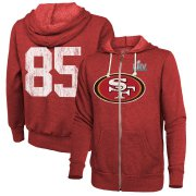 Wholesale Cheap Men's San Francisco 49ers #85 George Kittle NFL Red Super Bowl LIV Bound Player Name & Number Full-Zip Hoodie